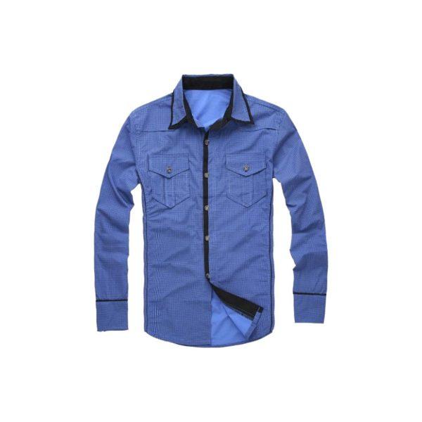 Blue Mens Casual Shirts-jjsoftwear