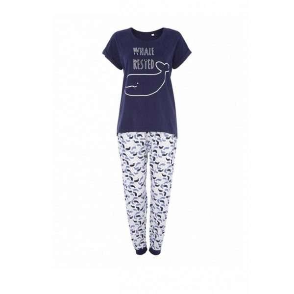 White and Blue Womens Pyjama-JJsoftwear